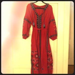 Eloquii peasant midi embroidered dress red